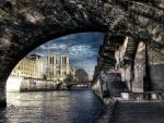 superb view of the seine under a bridge hdr