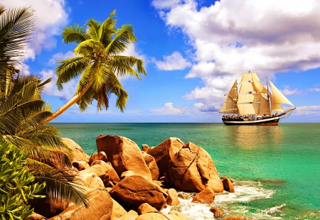 Tropical sailing - rocks, ky, breeze, sailing, beautiful, clouds, sea, palm trees, beach, nice, stones, tropics, blue, rest, vacation, elax, exotic, boast, lovely, s, ocean, relax, emerald, palms, water, summer, island, nature, sailboat, tropical, sands