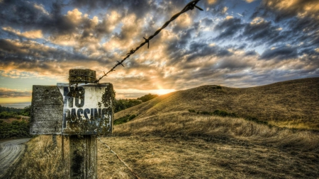 sunset over private land hdr - fence, hills, sign, hdr, sunset, clouds
