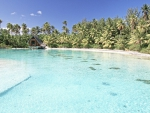 Perfect Clear Aqua Blue Lagoon at Thalasso Spa on the island Bora Bora Polynesia