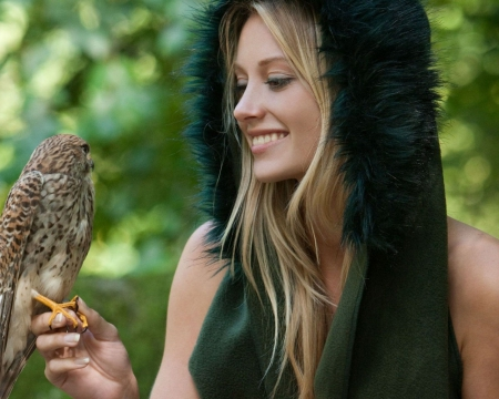 blonde with falcon - blonde, falcon, model, people