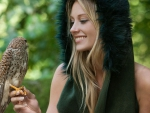 blonde with falcon