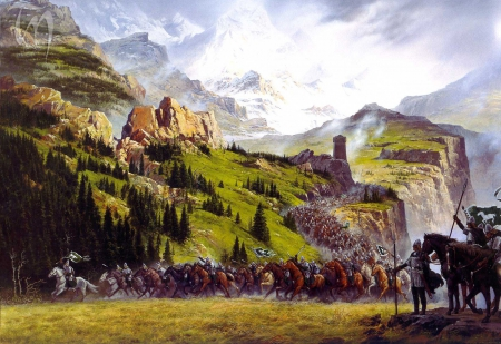 Battle for glory in the valley - war, celts, valley, mountain, warrior, battle, medieval, kingdom, celtic, viking