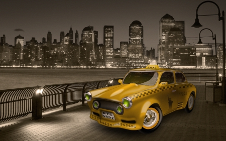 New York City Taxi Cab - states, yellow, taxi, city, big apple, usa, new york, manhattan, cab