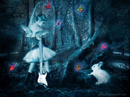 ✫Let's Play Butterflies✫ - fantasy arts, fantasy girls, dress, softness beauty, attractions in dreams, digital art, woman, fantasy, beautiful girls, photomanipulation, forests, hare, rabbit, female, model, love four seasons, creative pre-made, butterflies, guitar, girl, weird things people wear, backgrounds