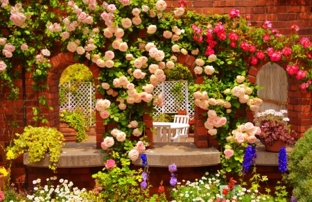 Roses paradise - pretty, colorful, house, home, beautiful, fragrance, nice, rest, lovely, fresh, relax, scent, roses, yard, windows, paradise, arch, summer