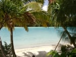 One Foot Island paradise beach and lagoon ocean Aitutaki Cook Islands Polynesia