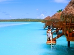 Aitutaki Cook Islands Water Villa Bungalow on Blue lagoon sea ocean