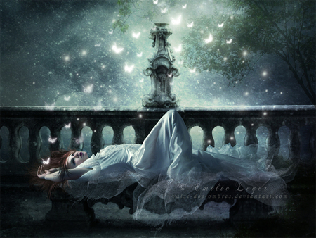 Papillon - art, butterflies, woman, fantasy, moon, butterfly, photomanipulation, dark, digital, light, night