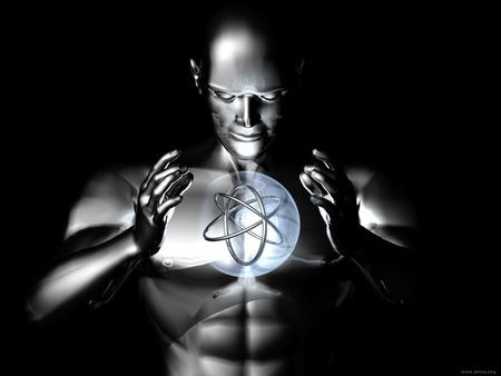 Harness the Atom - science, atom, man, metalic, controll