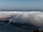 fog like cotton candy over the golden gate bridge