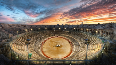 Gladiator Arena At Sunset - HDR, arena, roman, stage, sunset, theatre, sky, gladiator