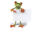 Frog Holding A Board