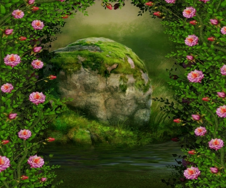 ✫Rocks of Stability✫ - rocks, stunning, premade BG, creeping plants, softness beauty, attractions in dreams, beautiful, stones, stock images, flowers, lovely flowers, streams, resources, love four seasons, creative pre-made, rocks of stability, roses, solid stones, backgrounds, nature