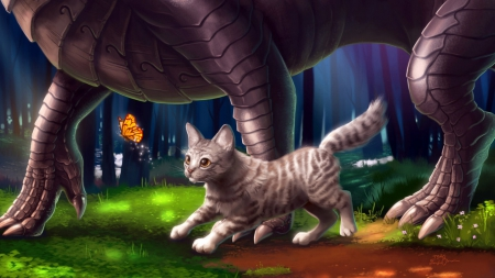 Always beside you - playing, cute, cat, dragon