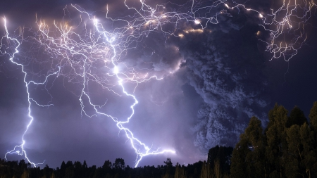 Puyehue Volcano, Lakes Region - earthquake, nocturnal, lava, explosion, black, trees, skies, lightning, Chile, smoke, white, ray, landscape