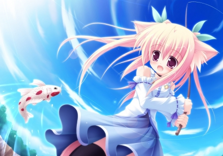 Cute Adorable Cat Girl Fishing Other Anime Background Wallpapers On Desktop Nexus Image 1520737