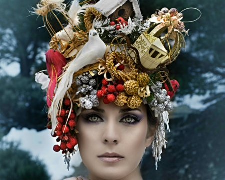 Woman face - accessories, weird, head, woman, style