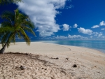 Dream white sand beach and clear blue sea on paradise tropical island Fakarava Cook Islands Polynesia