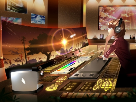 An Editor ♬ - art, lovely, sunset, laptop, thinking, nice, cool, sunsetpicturs, headhones, anime, anime girl, a world