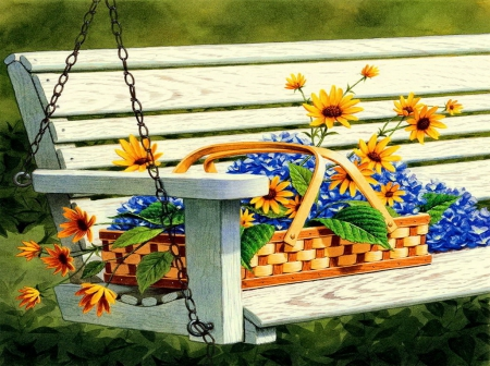 Flower bench - pretty, beautiful, nice, sunflowers, bunch, painting, flowers, art, rest, relax, bench, spring, park, lvoely, freshness, daisies, basket, summer, garden, nature