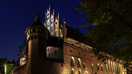 malbrok castle fortress in poland - fortress, castle, night, lights