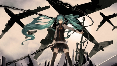 Hatsune Miku - vocaloid, hatsune miku, wind, skirt, airplanes, cool, gun, blue hair, anime girl, long hair