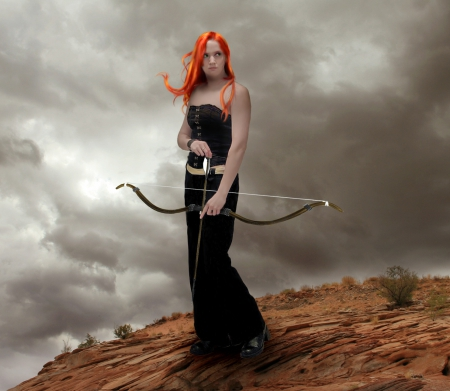 Time for Hunt - lady, clouds, woman, redhair