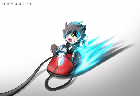 Mouse Rider - hd, guy, flash, adorable, flame, anime, male, silly, brown hair, chibi, plain, short hair, cute, fire, boy, kawaii, blaze, mouse, computer, digital, simple, funny