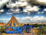 setting up a circus in valancia spain hdr