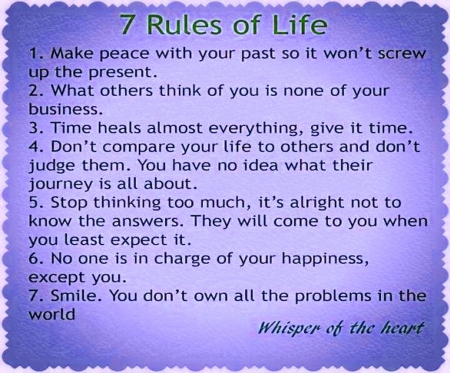 7 rules of life - poster, message, seven, rules