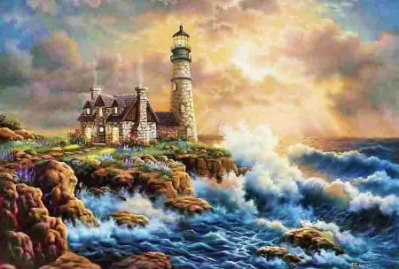 Lighthouse at Seashore - cottage, ocean, sunset, waves, sky, clouds, water, painting, cliff
