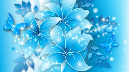 Light Blue Flowers 3d And Cg Abstract Background Wallpapers On