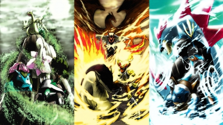 Grass Fire Water Pokemon Anime Background Wallpapers On