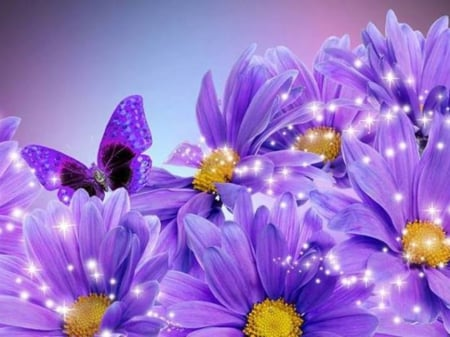 Purple Glitter - 3D and CG & Abstract Background ...