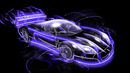 Blue Car Neon Style 3d And Cg Abstract Background Wallpapers