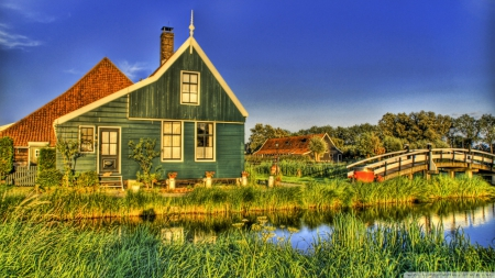 Holland Farmhouse - architecture, HD, photography, farmhouse, Holland, Houses, summer, Holland farmhouse, nature