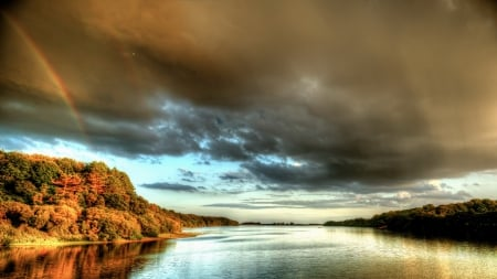 rainbow over the douglas river in england - forest, autumn, river, rainbow, rain, clouds