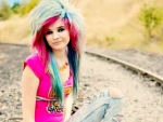 Beautiful Emo Scene Girl On Tracks