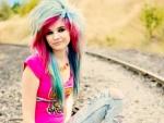 Beautiful Emo Scene Girl On Tracks