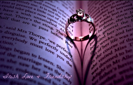 IRISH LOVE & FRIENDSHIP - photo, lovely, romantic, romance, golden, together, book, beautiful, fantasy, close up, reading, friendship, love, heart, ring