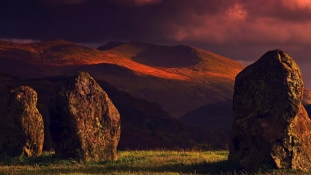 rock formation at sunset - formation, grass, mountains, sunset, rockes
