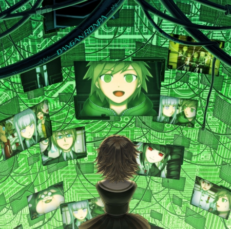 Digital World - glow, sparks, dangan ronpa, fantasy, green, anime, hot, anime girl, screen, female, brown hair, technology, sexy, abstract, short hair, cute, boy, kawaii, girl, digital, green hair