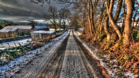 wonderful countryside road in winter hdr - fences, farms, hdr, trees, toad, winter