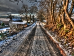 wonderful countryside road in winter hdr