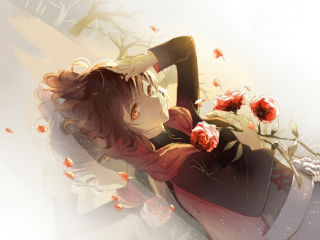 Red - red, red roses, female, rose, manga, ruby, floating, roses, rwby, water, girl, anime, red eyes