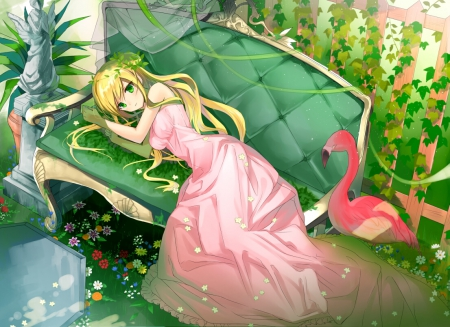 ~Time To Rest~ - pretty, laying down, green eyes, blonde, girl, bird, anime, flowers, pink dress