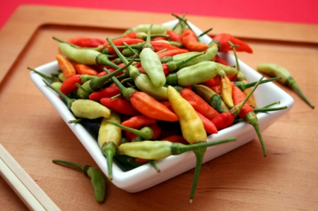 Plate of chillies - food, chillies, vegetables, people