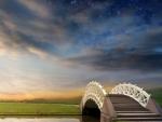 wonderful oriental style bridge under stars