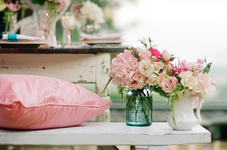 Lovely in Pink - rustic, beautiful lovely, photography, rose, flowers, roses, pink, cushion